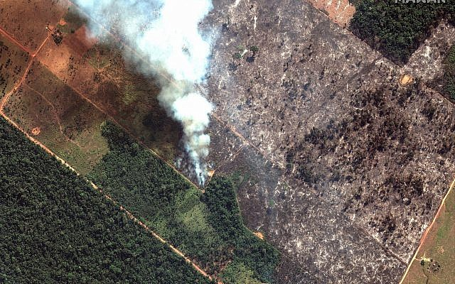 This August 15, 2019 satellite image from Maxar Technologies shows a closeup view of a fire southwest of Porto Velho, Brazil. (Satellite image ©2019 Maxar Technologies via AP)
