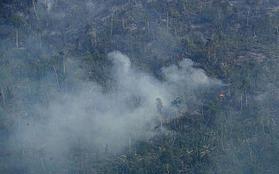 Fire consumes an area near Jaci Parana, state of Rondonia, Brazil, August 24, 2019. (Eraldo Peres/AP)