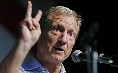 In this Aug. 9, 2019 photo, Democratic presidential candidate and businessman Tom Steyer speaks at the Iowa Democratic Wing Ding at the Surf Ballroom in Clear Lake, Iowa. (AP Photo/John Locher)