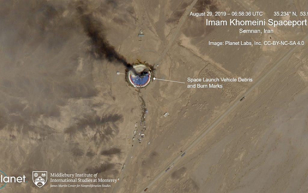 This satellite image from Planet Labs Inc., that has been annotated by experts at the James Martin Center for Nonproliferation Studies at Middlebury Institute of International Studies, shows a fire at a rocket launch pad at the Imam Khomeini Space Center in Iran's Semnan province on Aug. 29, 2019. (Planet Labs Inc, Middlebury Institute of International Studies via AP)