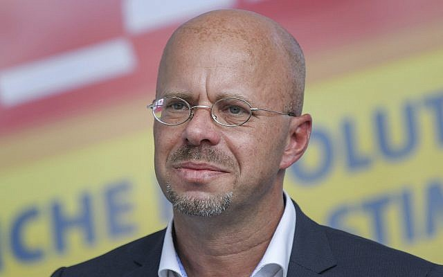 This photo from August 4, 2019 shows Andreas Kalbitz, chairman of the AfD party in Brandenburg, in Cottbus, Germany. (Patrick Pleul/dpa via AP)