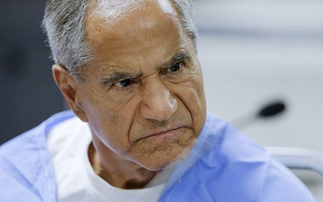 In this photo from February 10, 2016, Sirhan Sirhan reacts during a parole hearing at the Richard J. Donovan Correctional Facility in San Diego. (AP Photo/Gregory Bull, Pool, File)