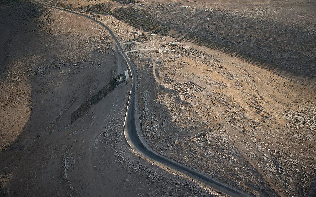 Aerial view of the Khirbat Ataruz site in central Jordan. (APAAME)