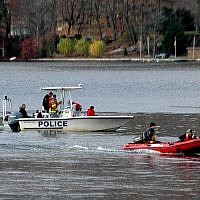 Illustrative image of police boats searching Greenwood Lake for missing swimmers on Nov. 15, 2009 in Greenwood Lake, New York. (AP Photo/Ed Bailey)