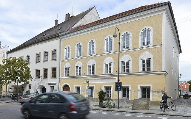 This September 27, 2012, file picture shows an exterior view of Adolf Hitler's birth house, front, in Braunau am Inn, Austria. (AP Photo / Kerstin Joensson, File)