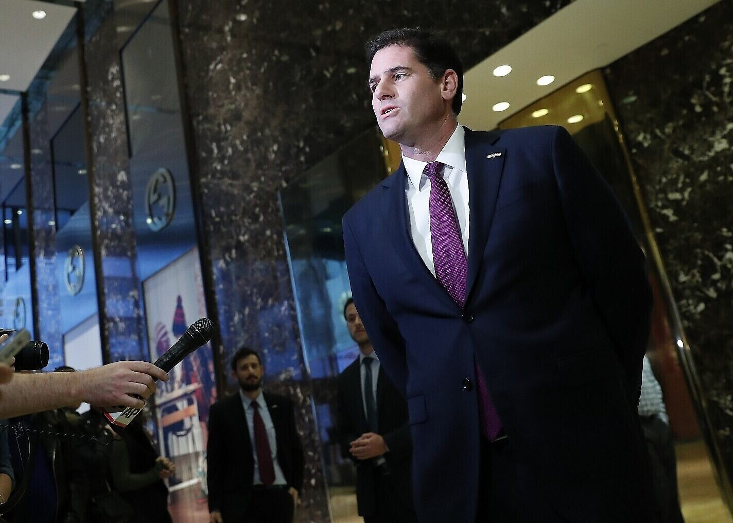 Ron Dermer speaks to media at Trump Tower on November 17, 2016, in New York. (AP/Carolyn Kaster)