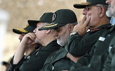 In this photo from June 30, 2018, Gen. Qassem Soleimani, center, who heads the IRGC's Quds Force, attends a graduation ceremony of a group of the guard's officers in Tehran, Iran. (Office of the Iranian Supreme Leader via AP)