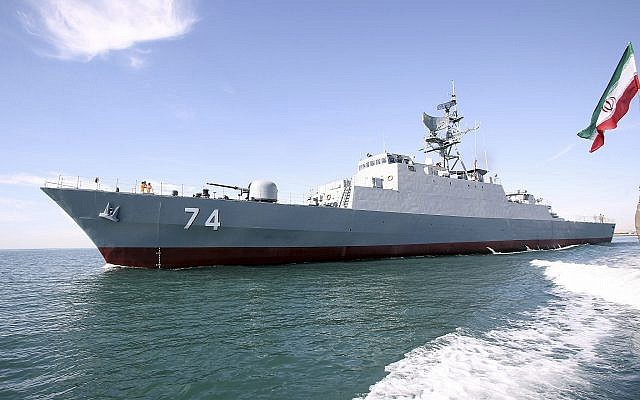 The new Iranian destroyer Sahand sails in Persian Gulf waters, in Bandar Abbas, Iran, on December 1, 2018. (Iranian Army via AP)