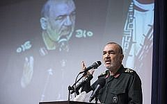 In this undated photo released by Sepahnews, the website of the Iran's Islamic Revolutionary Guard Corps, Gen. Hossein Salami speaks in a meeting in Tehran, Iran. (Sepahnews via AP)