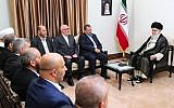 Supreme Leader Ayatollah Ali Khamenei, right, meets Hamas deputy chief, Saleh al-Arouri, second right, and the Hamas delegation, in Tehran, Iran, July 22, 2019. (Office of the Iranian Supreme Leader via AP)