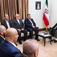 Supreme Leader Ayatollah Ali Khamenei, right, meets Hamas deputy chief, Saleh al-Arouri, second right, and the Hamas delegation, in Tehran, Iran, July 22, 2019. (Office of the Iranian Supreme Leader via AP)