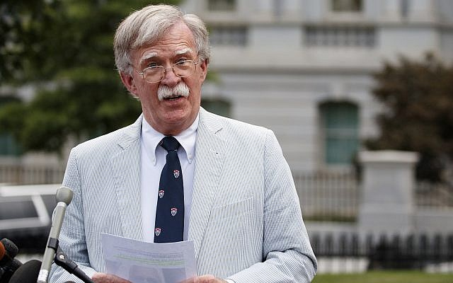 US National Security Adviser John Bolton speaks to media at the White House in Washington, July 31, 2019. (AP Photo/Carolyn Kaster)