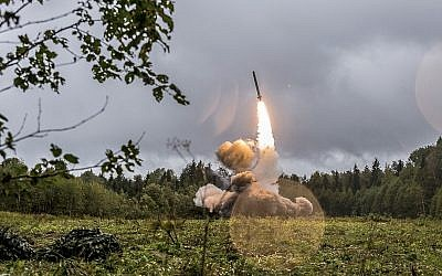 This undated file photo provided September 19, 2017, by Russian Defense Ministry official website shows a Russian Iskander-K missile launched during a military exercise at a training ground at the Luzhsky Range, near St. Petersburg, Russia (Russian Defense Ministry Press Service via AP/File)
