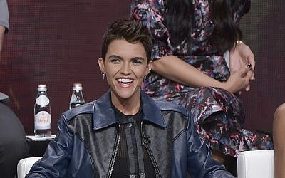 "Ruby Rose participates in The CW ""Batwoman"" panel during the Summer 2019 Television Critics Association Press Tour at the Beverly Hilton Hotel on Aug. 4, 2019, in Beverly Hills, California. (Richard Shotwell/Invision/AP)"