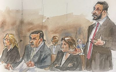 In this courtroom sketch, Cesar Sayoc, second left, sits as his Attorney Ian H. Amelkin, right, speaks at federal court in New York on August 5, 2019 (Aggie Kenny via AP)