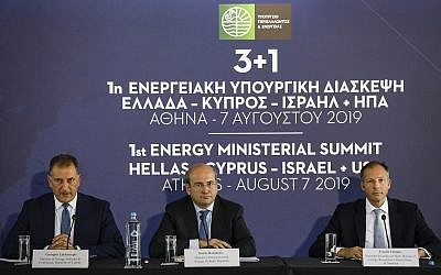 Greek Minister of Environment and Energy Kostas Hatzidakis, center, US Assistant Secretary of State of Energy Francis Fannon, right, and Cyprus' Energy Minister Georgios Lakkotrypis take part in a summit in Athens, Wednesday, Aug. 7, 2019. (AP Photo/Petros Giannakouris)