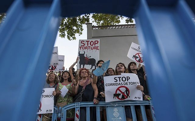 In this photo taken on Friday, Aug. 9, 2019, anti bullfighting protesters gather outside the Coliseo Balear bullring before a bullfight in Palma de Mallorca, Spain. The bullfight is the first in Mallorca since a court turned over a regional law on the island that made it very difficult to hold bull fights. (AP Photo/Atienza)