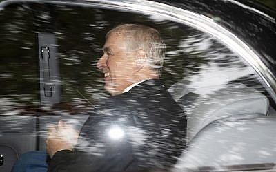 Britain's Prince Andrew, the Duke of York, leaves Crathie Kirk, after a Sunday morning church service, in Crathie, Scotland, Sunday, Aug. 11, 2019. (Jane Barlow/PA via AP)
