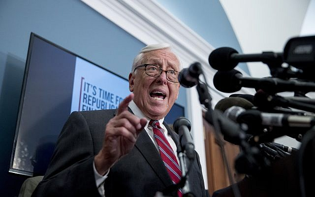 House Majority Leader Steny Hoyer of Md., speaks at a news conference calling for Senate action on H.R. 8 - Bipartisan Background Checks Act of 2019 on Capitol Hill in Washington, Tuesday, Aug. 13, 2019. (AP Photo/Andrew Harnik)