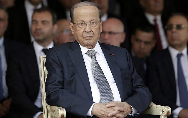 Lebanese President Michel Aoun attends a graduation ceremony marking the 74th Army Day, at a military barracks in Beirut's suburb of Fayadiyeh, Lebanon on August 1, 2019. (AP Photo/Hassan Ammar)