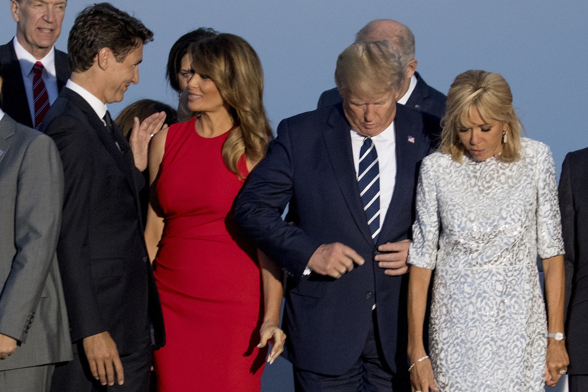 Photos of Melania Trump Kissing Justin Trudeau at G7 Go Viral