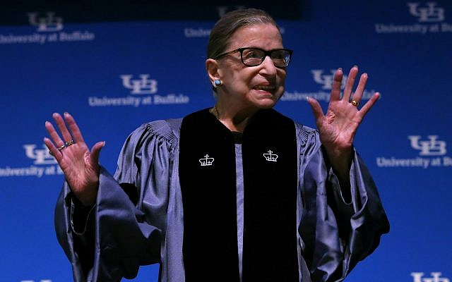 Supreme Court Associate Justice Ruth Bader Ginsburg speaks about her work and gender equality following a ceremony granting her a SUNY Honorary Degree from the University at Buffalo, August 26, 2019, in Buffalo, New York (AP Photo/Jeffrey T. Barnes)