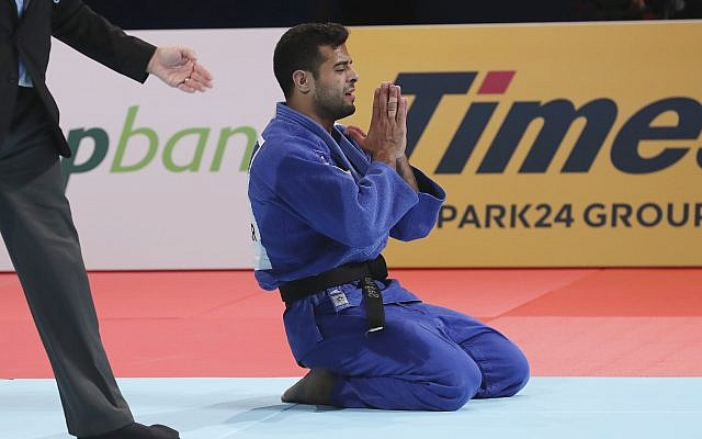 Sagi Muki of Israel reacts after defeating Matthias Casse of Belgium during a men's under-81 kilogram final of the World Judo Championships in Tokyo, August 28, 2019. (AP Photo/Koji Sasahara)