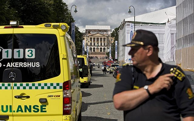 Illustrative: Police and ambulances deployed in Oslo after a bomb scare on July 31, 2012. (AP Photo/Fredrik Varfjell/NTB scanpix)