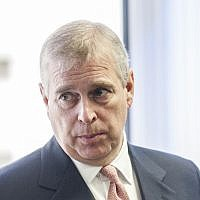 Britain's Prince Andrew in Slough, England, April 13, 2015. (David Parker/Daily Mail via AP, Pool)