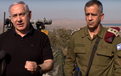 Prime Minister Benjamin Netanyahu speaks to reporters during a tour of the Golan Heights with IDF Chief of Staff Aviv Kohavi on August 25, 2019. (Screen capture: YouTube)
