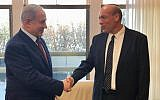 Matanyahu Englman (R) shakes hands with Prime Minister Benjamin Netanyahu at the Prime Minister's Office in Jerusalem shortly after being nominated for state comptroller on June 3, 2019. (PMO/Twitter)