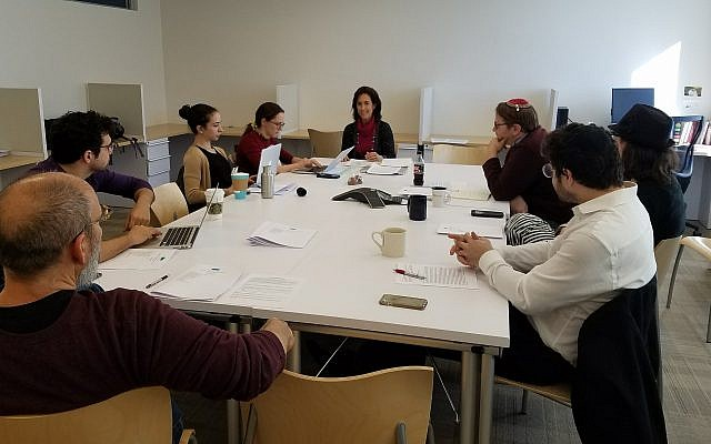 Research fellow Christine Hayes teaches a seminar at the Shalom Hartman Institute of North America's New York headquarters. (Courtesy of Shalom Hartman Institute of North America via JTA)