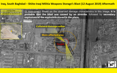 Satellite photo of a weapons depot in southern Baghdad controlled by a pro-Iranian militia that was hit in an alleged Israeli operation on August 12, 2019. (ImageSat International)