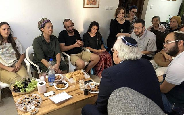 US Ambassador to Israel David Friedman pays a shiva call to the family of Dvir Sorek, who was killed in a West Bank stabbing attack, at their home in the settlement of OFra on August 12, 2019. (Twitter)