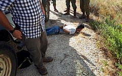 A Palestinian suspect detained by security forces in the West Bank who was found to be carrying a knife, August 25, 2019. (Rescuers Without Borders.)