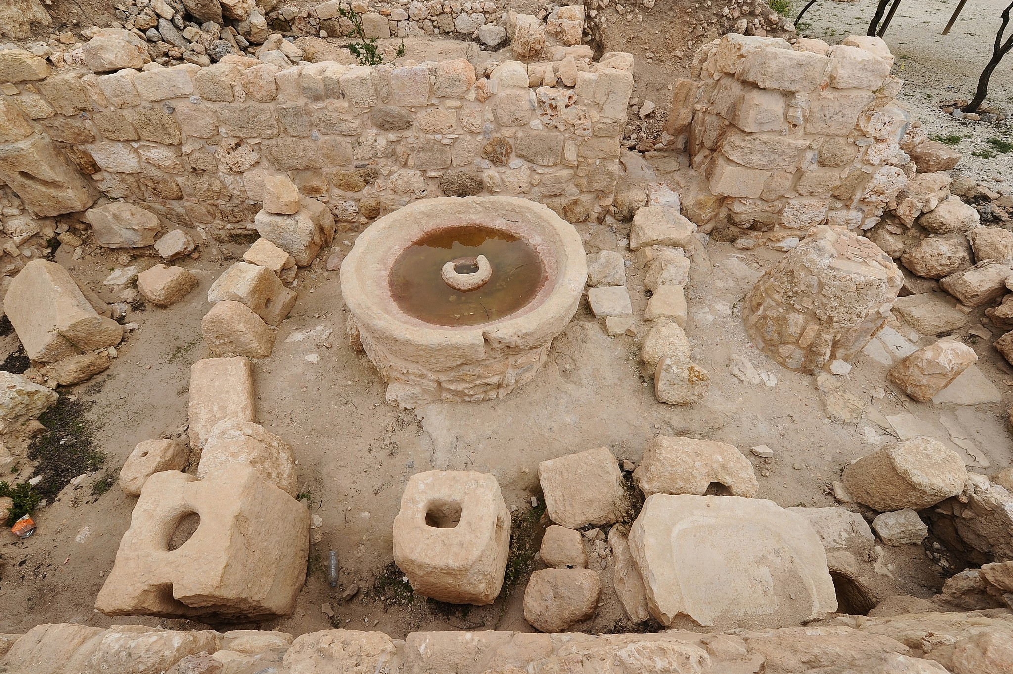 Archaeological finds from the Second Temple period at Shiloh, March 2014. (Mendy Hechtman/FLASH90)