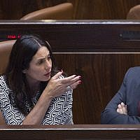 Miri Regev, left, and Naftali Bennett in the Knesset on November 13, 2016. Miriam Alster/FLASH90)