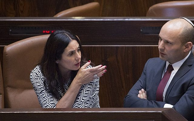 Miri Regev, left, and Naftali Bennett in the Knesset on November 13, 2016. Miriam Alster/FLASH90)