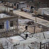 Construction of new homes in the Israeli settlement of Shiloh. November 17, 2016. (Miriam Alster/Flash90)
