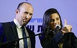Ayelet Shaked and Naftali Bennett (L) at a press conference in Ramat Gan announcing Shaked as the new leader of the New Right party, July 21, 2019. (Tomer Neuberg/Flash90)