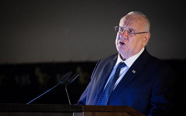 Israeli president Reuven Rivlin speaks at the opening night of the Jerusalem Film Festival in Jerusalem on July 25, 2019. (Yonatan Sindel/Flash90)