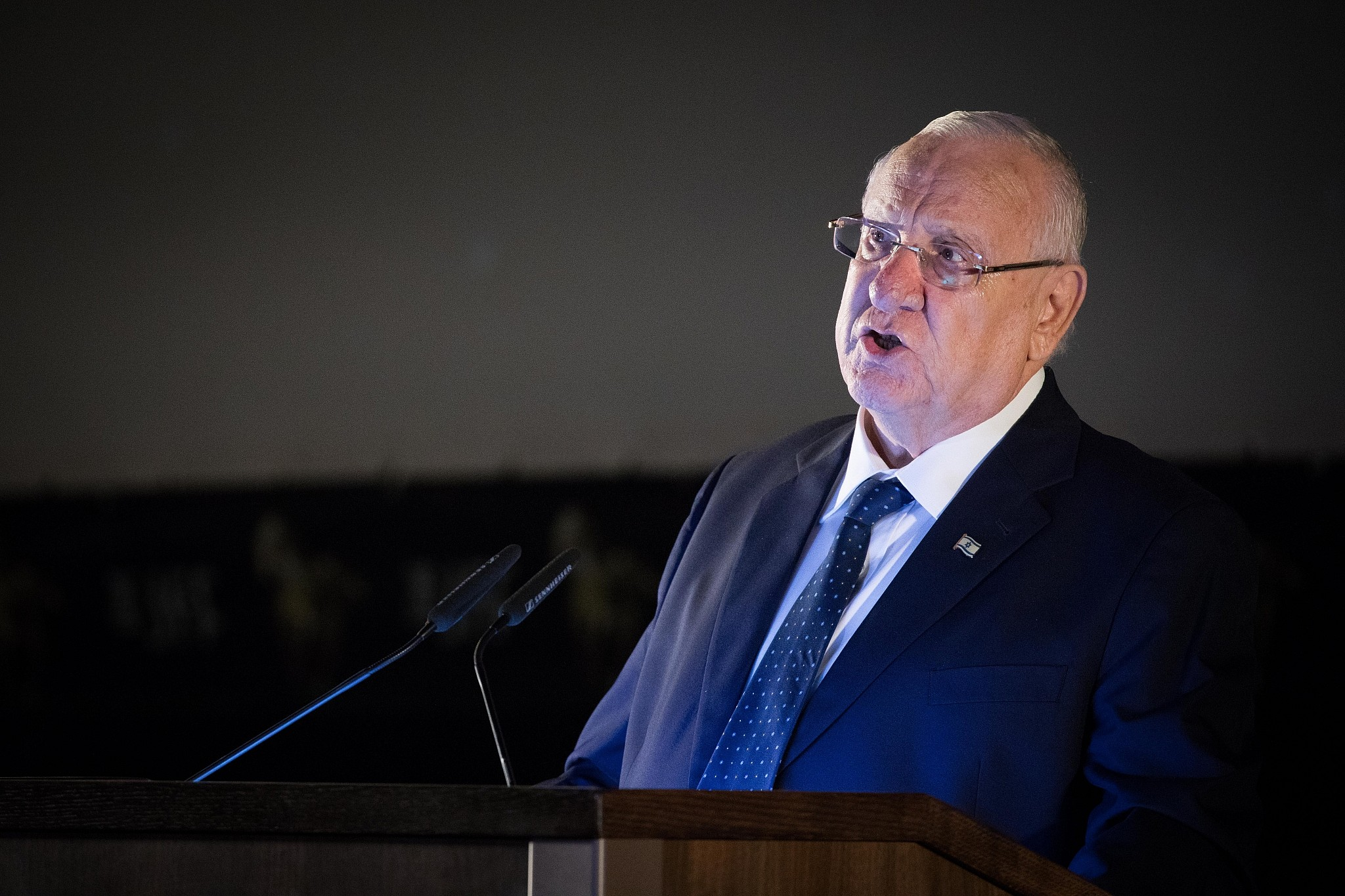Israeli president Reuven Rivlin speaks at the opening night of the Jerusalem Film Festival in Jerusalem