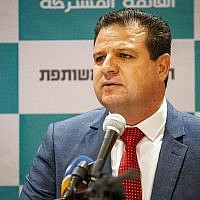 Ayman Odeh, chairman of the Joint List, speaks during a press conference in Nazareth, July 27, 2019. (Flash90)