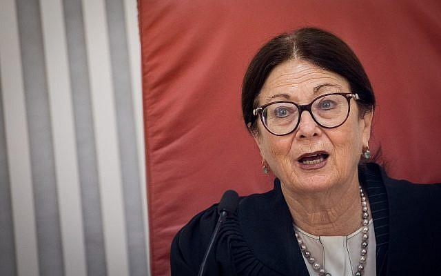 A juíza-chefe da Suprema Corte, Esther Hayut, em uma audiência na Suprema Corte de Jerusalém em 29 de julho de 2019. (Yonatan Sindel / Flash90)