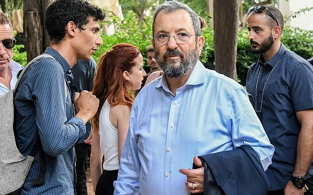 Former prime minister and leader of Israel Democratic party, Ehud Barak seen during an election tour in Tel Aviv on July 30, 2019. (Flash90)