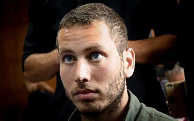 Avner Netanyahu, son of  Prime Minister Benjamin Netanyahu seen during a court hearing regarding his request for a restraining order against activist Barak Cohen, at the Tel Aviv Magistrate's Court in Tel Aviv on August 4, 2019 (Flash90)