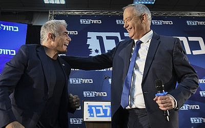 Blue and White leaders Benny Gantz (right) and Yair Lapid speak during a campaign event in Kiryat Ono, on August 7, 2019. (Flash90)