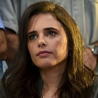 Yamina leader Ayelet Shaked attends the electroal alliance's campaign launch in Ramat Gan, on August 12, 2019. (Gili Yaari/Flash90)