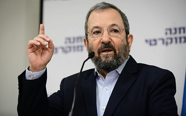 Former prime minister Ehud Barak speaks at the Democratic Camp electoral alliance's campaign launch in Tel Aviv on August 12, 2019. (Tomer Neuberg/Flash90)