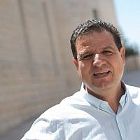MK Ayman Odeh, leader of the Joint List seen outside a court hearing at the Supreme Court in Jerusalem, August 22, 2019. (Yonatan Sindel/Flash90)
